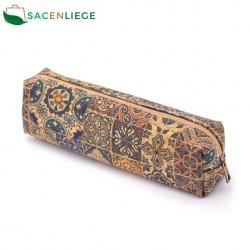 Natural cork with pattern small zipper crossbody purse bag BAG-603